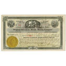 Original Klondyke Divide Mining Co., 1919 Issued Stock Certificate.