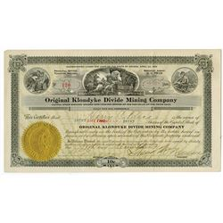 Original Klondyke Divide Mining Co., 1919 Issued Stock Certificate.