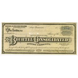 Bechtel Consolidated Mining Co., 1879 Stock Certificate.