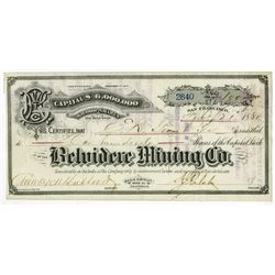 Belvidere Mining Co., 1880 Stock Certificate.