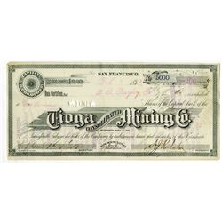 Tioga Consolidated Mining Co., 1880 Stock Certificate.