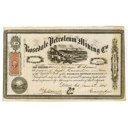 Rosedale Petroleum and Mining Co., 1865 Stock Certificate.