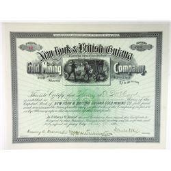 NJ. New York & British Guiana Gold Mining Co., 1894 100 Shrs I/C Stock Cert., XF