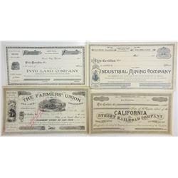 California Stock Certificate Quartet, ca. 1884-1890s.