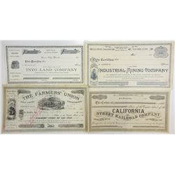 California Stock Certificate Quartet, ca. 1884-1890s.