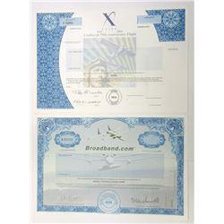 """X"" Prize and Broadband.com Specimen Stock Certificates, 1998-2002"