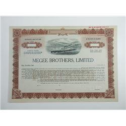 Megee Brothers, Ltd., ca.1940-1950 Specimen Stock Certificate