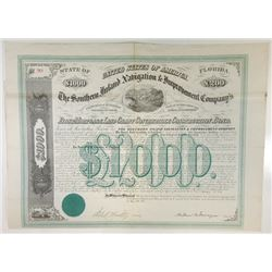Southern Inland Navigation & Improvement Co., 1871 Issued Bond