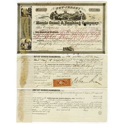 Morris Canal & Banking Co., 1845-1869 Trio of Bonds