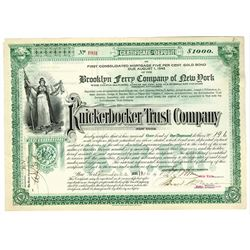 Knickerbocker Trust Co., 1906 Certificate of Deposit for the Brooklyn Ferry Company.