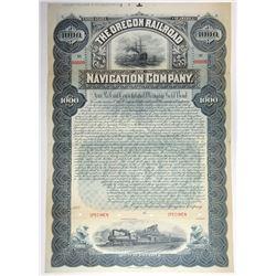 Oregon Railroad and Navigation Co., 1896 Specimen Gold Bond.