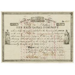 Erie Canal Co., 1845 Cancelled Bond