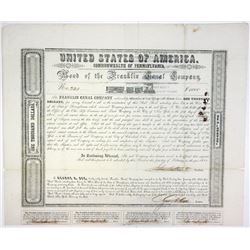 Franklin Canal Co., 1851 Issued Bond.