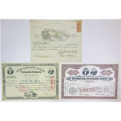 Lehigh Coal & Navigation Co. 1867-1962 Issued Trio of Certificates