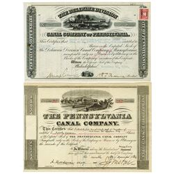 Pennsylvania Canal Stock Certificate Pair, 1884-1920.