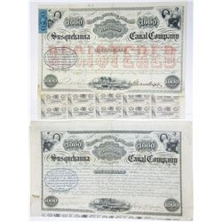 Susquehanna Canal Co, 1853-1868 Issued Bond Pair.