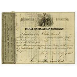 Tioga Navigation Co., 1836 Issued Stock Certificate