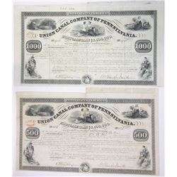 Union Canal Co. of Pennsylvania, 1853 Issued Bond Pair.