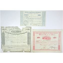 Union Canal Company & North Branch Canal Co., Trio of Stock Certificates ca.1857-1878