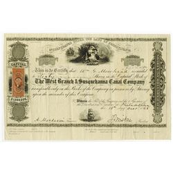 West Branch & Susquehanna Canal Co., 1868 Issued Stock Certificate