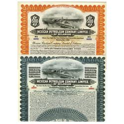 Mexican Petroleum Co. Ltd., of Delaware, 1911-1921 Pair of Specimen Bond.