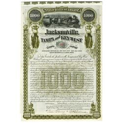 Jacksonville, Tampa and Key West Railway Co., 1890 Issued Bond.