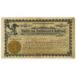 Dublin and Southwestern Railroad, 1905 Issued Stock Certificate
