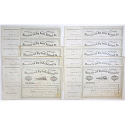 Maysville & Big Sandy Railroad Co., 1888-1902 Group of Cancelled Stock Certificates