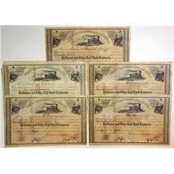 Baltimore & Ohio Rail Road Co., 1856-1858 Group of Cancelled Stock Certificates