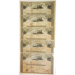 Baltimore & Ohio Rail Road Co., 1858 Group of Cancelled Stock Certificates