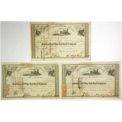 Baltimore & Ohio Rail Road Co., 1863-1866 Trio of Cancelled Stock Certificates Signed by John Hopkin