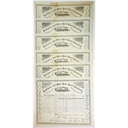 Baltimore & Ohio Rail Road Co., 1872-1875 Group of Cancelled Stock Certificates