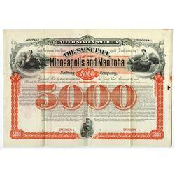 Saint Paul, Minneapolis and Manitoba Railway Co., 1887 Specimen Bond