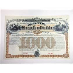 Montana Extension - Saint Paul, Minneapolis and Manitoba Railway Co. 1887 Specimen Registered Bond.