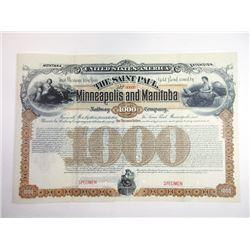 Montana Extension - Saint Paul, Minneapolis and Manitoba Railway Co. 1887 Specimen Registered Bond.
