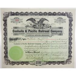 Coahuila & Pacific Railroad Co., 1901 Issued Stock Certificate