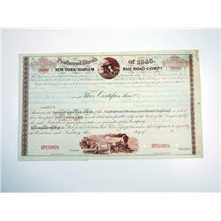 New York & Harlem Rail Road Co., Preferred Stock of 1848, Specimen Stock Certificate