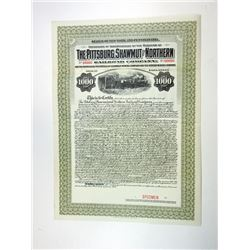 Pittsburg, Shawmut & Northern Railroad Co., 1917 Specimen Bond