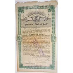 Penitentiary Railroad Bond, 1909 Cancelled Bond