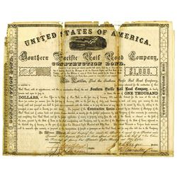 Southern Pacific Rail Road Co., 1858 Issued Bond - possibly Unique.
