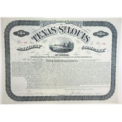 Texas & St. Louis Railway Co., 1881 Issued Stock Certificate