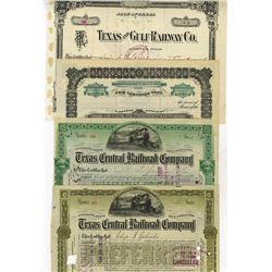 Texas Railroad Cancelled Stock Certificate Quartet, ca.1897-1906