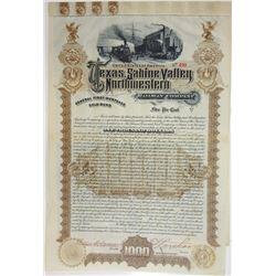 Texas, Sabine Valley & Northwestern Railway Co., 1893 Cancelled Bond