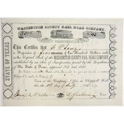 Washington County Rail Road Co., 1858 Issued Stock Certificate