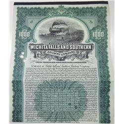 Wichita Falls & Southern Railway Co., 1908 Cancelled Bond