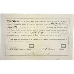 Texas, Topolobampo & Pacific Railroad & Telegraph Co., 1881 Issued Temporary Stock & Bond Certificat