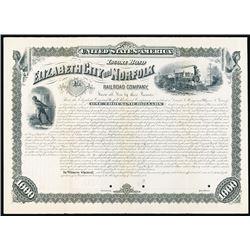 Elizabeth City and Norfolk Railroad Co. 1881 Specimen Registered Bond.