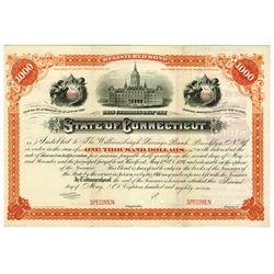 State of Connecticut, 1887 Specimen Registered Bond.