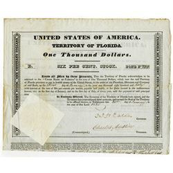 United States of America Territory of Florida, 1835 Issued Bond