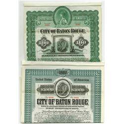 City of Baton Rouge, 1899 and 1905 Specimen Bonds.